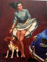 Perros perro de aguas Baratos-Pin de Sarnoff encima del perjuicio atractivo de la muchacha con el perro del perro de aguas de perro, pintura al óleo pintada a mano pura de la bella arte Canvas.any tamaño modificado para requisitos particulares aceptado
