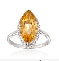 Cheap Free Shipping Solid 14K White Gold Natural Diamond & Ravishing Yellow Citrine Jewelry Ring(R0126)