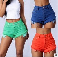Wholesale explosion models supply bristles Denim storts candy color women high waisted denim shorts pocket shorts
