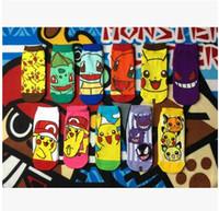adult knitted slippers - Cartoom Adult Socks poke mon printing socks cotton women Casual Socksing Autumn Fashion Animals Sock Slippers poke Ship socks XW237