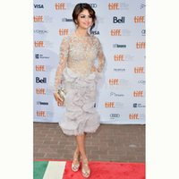 Wholesale New Sexy Sheath Scoop Long Sleeve Beads Pearls Lace Ruffles Mid Calf Evening Celebrity Dresses Selena Gomez Red Carpet Gown