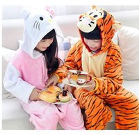 Wholesale 2016 New Winter Season Kid Gifts Cat and Tiger Flannel Homewear Children Lovely Siamese Pajamas Onesies