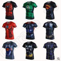 Wholesale 15 Design Fitness Compression Shirt Superhero Sport Wear Men Superman Captain America Batman Spiderman Iron Man Sport T shirt CCA4787