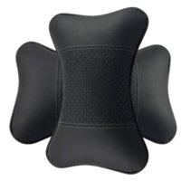 Wholesale Car neck support pillow High quality genuine leather Auto interior accessories Car interior headrest neck pillow A pair set