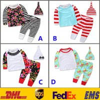 Wholesale Sleepwear T Shirts Cotton - Baby Clothing Sets 2016 Girls Boys Newborn Kids Children Flower Striped Sets Cotton Top T-shirt+Pants+Hats Pajamas Sleepwear Suits HH-S03