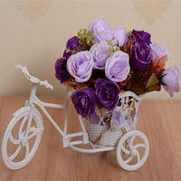 Wholesale Modern decorative wicker baskets Rattan Tricycle Bike float flower vase flowerpots containers artificial flowers home decor