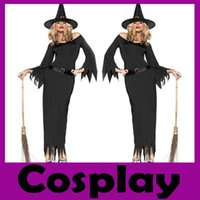 beauty theme - New Arrival Pieces Black Polyeter Soft Halloween Dress Witch Theme Costume Adult Cosplay Hot Sell