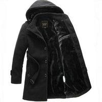 Wholesale Wool coats men s clothes fashion slim overcoat winter men wear hooded thick fleece jackets Young Men s wear outwear hot sales