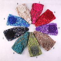 Wholesale Flower Women s Knitted Headwrap Knitting wool crochet headband ear warmers for Girls Teens Women