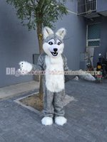 Wholesale Wolf costume selling cute high quality plush gray husky mascot adult type mascot discount