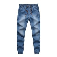 Wholesale Mens Jean Joggers New Fashion Men Casual Washed Trousers Solid Color Men Jogger Pants Jeans Denim Joggers Plus size Hot