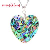 abalone jewelry - Natural Abalone Shell Splicing Pendants Necklace Chain Heart Moon Rhombus etc Geometric Accessories European Fashion Women Mens Jewelry