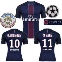 Wholesale Thailand Quality Maillot de foot soccer Jerseys Home Blue Di Maria Ibrahimovic Matuidi David Luiz football Shirt
