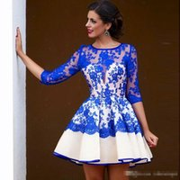 Wholesale Royal Blue Lace Arabic Cocktail Party Dresses Long Sleeves Organza Cheap Women Special Occasion Evening Gowns Junior Homecoming Wears