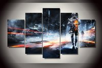 battlefield pc games - 5 Set No Framed HD Printed Battlefield Game Painting Canvas Print room decor print poster picture canvas paint by numbers