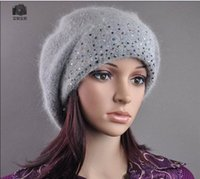 Wholesale Winter Korean version of imitation cashmere women diamond studded rabbit hair hat knitted hat autumn and winter wool cap line