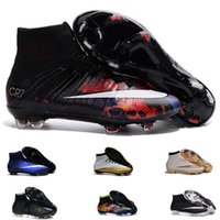 beauty leather shoes - Mercurial Superfly CR7 FG Boots Original Savage Beauty TPU Sports Shoes Mens Football Boots Cleats Black White Total Crimson