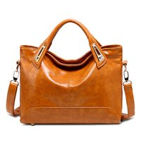 Wholesale 2016 New European and American fashion retro oil wax leather PU leather handbag shoulder bag messenger handbag Boston
