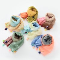 baby blue pashmina - 2016 Baby Girls Ombre Tassel Scarves Kids Girls Princess Cotton Wraps Babies Autumn Korean Scarf Children s Hair Accessories each color