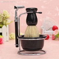 Cheap Wholesale-4 in1 Men Chrome Bowl Brush Soap Dish Stand Shaving Razor Beard Clean Shaver Kit Set Easy Cary LA602233