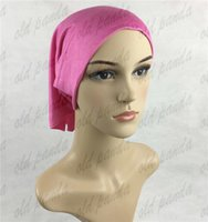 Wholesale Elastic Muslim Cotton Jersey Solid color Head Plain Hijab Inner Neck Tube Cap Bonnet Malaysia Hat Wraps Free Fast Delivery