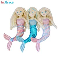 beautiful baby fishes - brand plush mermaid dolls with Curved tail toys for girl super beautiful little mermaid colors inch baby doll wedding dolls GD