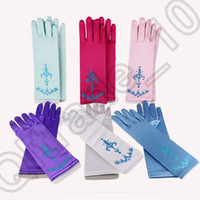 Wholesale 3000PCS MMA51 Baby colors Glitter Powder Frozen Gloves Princess Queen Elsa Girls Gloves for Dress Cosplay Party Gloves Kids Accessories