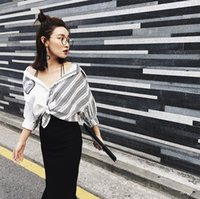 bask design - Fashionable Design Stripe Color Matching Shirt Comfortable Cotton And Linen Shirt Prevented Bask Half Sleeve Shirt Women