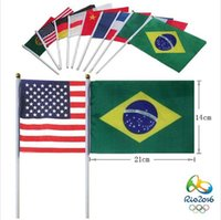 Wholesale 2016 Brazil Olympic Games Party Supply Small Hand Flag Size cm Over Country s Flag in Stock Via EMS