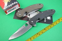 Wholesale NEW SPYDERCO Titanium alloy and carbon fiber handle CTS P steel Pocket Folding knife DF19