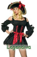 adult pirate hat - Sexy Black Pirate Costume Queen Cosplay Halloween Adult Costume Fancy Dress Hat Clubwear Wholesales M L