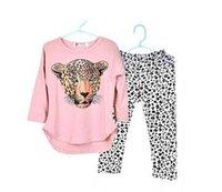 Wholesale 2016 Girls Clothes Toddler Girls Clothing Sets Baby Girls Kids Clothes Children Clothing Full Sleeve T Shirt Leopard Legging Vestidos