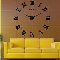 Wholesale Large living room DIY acrylic mirror quartz wall clock D roman numerals Fashion Art Home Decor Wall Clocks stickers PC602327