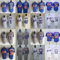 Wholesale 31 Mike Piazza Noah Syndergaard David Wright Matt Harvey Jacob DeGrom Jerseys Yoenis Cespedes New York Mets Baseball Jerseys