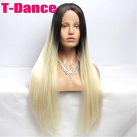 Wholesale Premium blonde ombre wig dark root long natural straight wigs Brazilian Hair synthetic lace front wig heat resistant