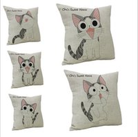 Wholesale 2016 New Cat face Tail lovely Square Cotton Linen Throw Pillow Case Pillowcase Cushion Homes Car Sofa Pillow Covers Ted dy