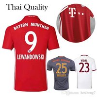 Wholesale 2016 Bayern Munich Jerseys Robben Alonso Muller Lewandowski Vidal Wholesalers home away rd soccer football shirts