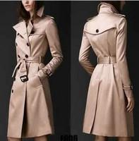 Wholesale European women show thin long trench coat trench coat women Double breasted trench coat Pure color khaki Plus size