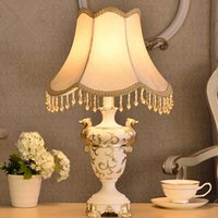 Wholesale 1 piece European style luxury cloth art resin table lamp Bedroom bedside lamp with pendant Marriage room decoration desk lamp