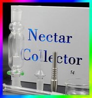 Wholesale Hot Nectar Collectar kit Glass Nectar Collectar Tips with Titanium and Quartz Nail Dabber Dish mm mm mm Glass Pipe Nectar Collector