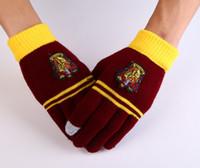 Wholesale Harry Potter Gloves Hogwarts Gryffindor Slytherin Ravenclaw Hufflepuff Badge Gloves Touch Fingers Golves Christmas Gift for men women