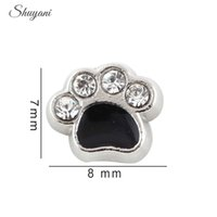 bears live - Fashion Alloy Black Crystal Paw Charms fit DIY Dog Cat Bear Paw Living Locket Charms for Bracelet Floating Charm Locket