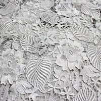 Wholesale 120cm Width White Color D Three dimensional Hollow Leaves Lace Fabric Cotton Guipure Lace Fabric Material Clothing Fabric