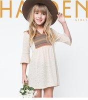 big apricot - Big Girls dress National style children Bohemia geometry dress kids apricot Flare Sleeve dress T autumn new children clothing A9491