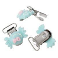 Wholesale 10PCs Infant Pacifier Clips Candy Shape Happy Carved Cabochon Skyblue Cute Infant Soother Clasps Funny Accessories cm x3 cm