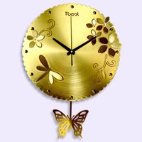 Wholesale 1pcs Butterfly flower living room wall clock rural modern fashion art creative personality quartz clock mute clock bedroom