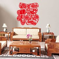 Cheap Free shipping high quality Fashion Creative Red Vinyl Chinese Style Living Room Glass Window Decoration Home & Bedroom Wall Sticker