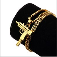 Wholesale Sale Charm Necklaces Mens Hip Hop Jewelry Gangsta Pendant Design Punk Rock Fashion Filling Pieces Chains CM Long