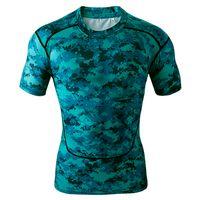 оптовых t shirt-Мужская с коротким рукавом сжатия Топы Cool Skin Колготки футболки Синий Камо
