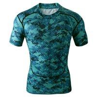venda por atacado camisa dos homens-Curta Masculina Manga Compression Tops Cool Skin calças justas camisetas Camo azul